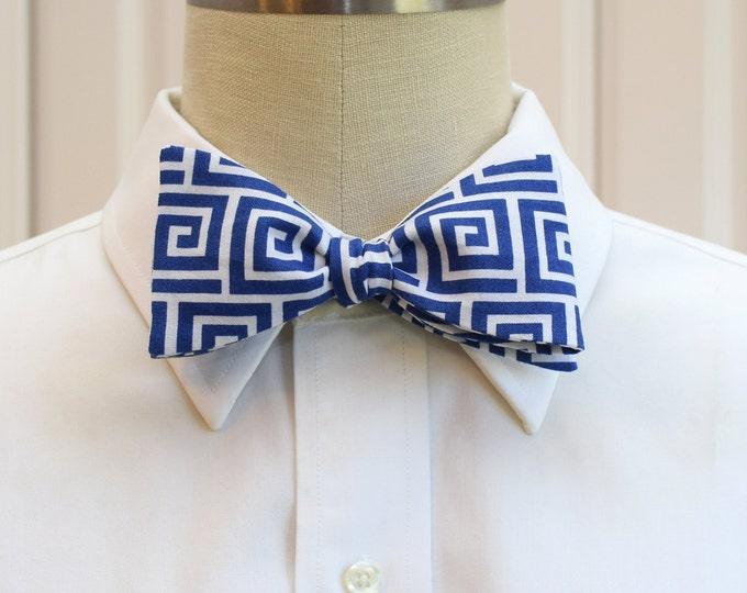 Men's bow tie, royal blue Greek key design, geometric print bow tie, groom bow tie, formals bow tie, cobalt blue/white bow tie , prom bowtie