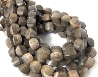 Graywood, Cushion, 10mm x 12mm, Large, Smooth, Natural Wood Beads, 8 Inch Strand, 14pcs - ID 2179-HS