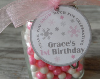 """60 Thank You SNOW Much Custom 1.5"""" Birthday Favor Tags - For Cake Pops - Lollipops - Cookies - Disney Frozen Party Favors - Snowflake Tags"""