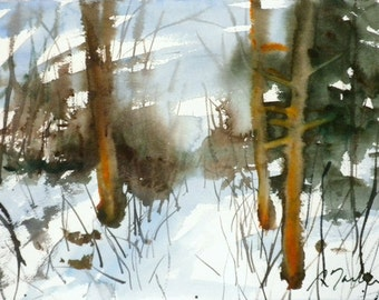 New England Winter-Scape No.61, limited edition of 50 fine art giclee prints from my original watercolor