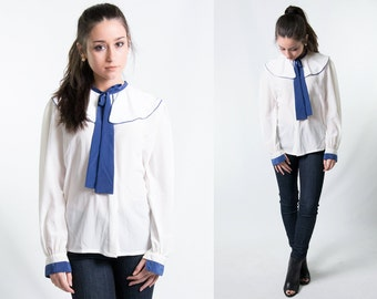 Vintage Navy Blue & White Bow Blouse w/ Ascot Tie Ruffle Sailor Collar // Bowtie Blouse Size Medium // FREE SHIPPING