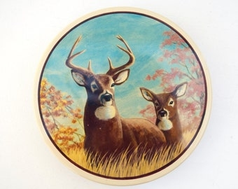 Vintage tin box storage container candy jar deer elk nature outdoor Christmas gift home decor mans cave decor organizer hidden compartment