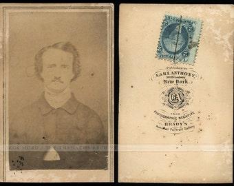 Very Rare CDV Photo of Edgar Allan Poe - Attributed to Mathew Brady