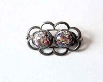 Vintage Sterling Silver Pin With Multi Color Stones ON SALE