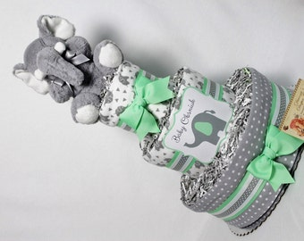 Elephants Baby Diaper Cake Mint OR CHOOSE COLOR Shower Gift or Centerpiece