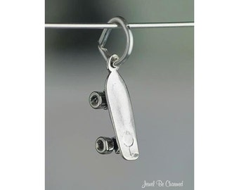 Miniature Sterling Silver Skateboard Charm Skate Deck Tiny Solid .925