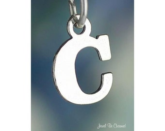 Sterling Silver Small Letter C Charm Initial Capital Letters Solid 925