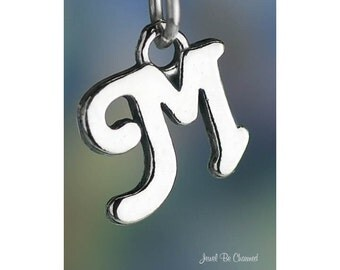 Sterling Silver Script Letter M Charm Initial Cursive Shiny Solid .925
