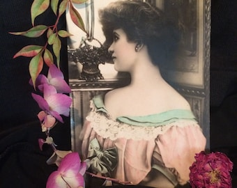 Pastel Tinted French Postcard - Beautiful Woman - Reutlinger - Flower Basket - Antique Photo
