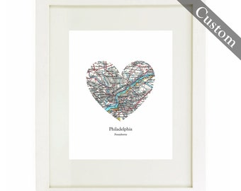 CUSTOM Heart Map Art Print. Print Only. You Select Location Worldwide. Personaized Text. Destation. Travel Gifts. Wedding. Fathers Day. Mot