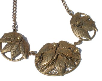 Vintage Bronze Necklace with Foliage Leaves and Floral Designs with Wirework Ovals Vintage Jewelry