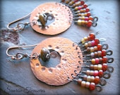 NEW Tribal Gypsy Hammered Copper Earrings, Metalwork Rustic Bohemian Earrings, Earthy Artisan Earrings, Textured Statement Earrings