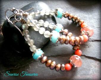 SALE Natural Gemstone Hoops, Blue Peruvian Opal, Labradorite, Pink Coral, Strawberry Quartz, Champagne Gold Freshwater Pearls, Stone Jewelry