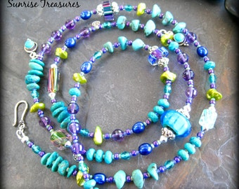 Artisan Lampwork Glass Necklace, Long Beaded Gemstone Necklace, Genuine Turquoise Necklace, Amethyst, Keishi Pearls, Sterling Silver