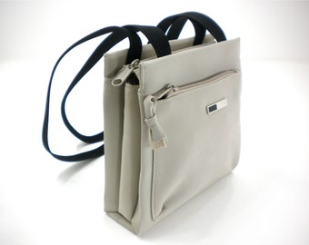Small bag purse, neutral gray khaki with black shoulder straps, square, summer, casual-dressy handbag, women's vintage fashion accessories