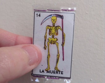 La Muerte Pocket Talisman - Pocket Amulet - Mexican Wallet Saint - Wallet Amulet - Loteria - Alter - Mixed Media Assemblage Collage - Death
