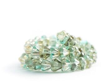 Flower Beads, Baby Bell Pressed Czech Glass - Mini Flower Cups, Blue Green Glass, Aquamarine / Yellow Celsian (4/6mm) x 25