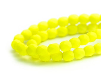 Neon Yellow Faceted Round Spacer Beads, Fire Polished Czech Glass Beads, Matte Opaque Saturated Colour, 6mm x 25pc (0017)