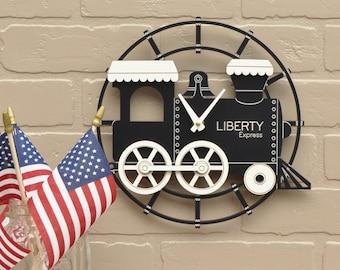 Kids Wooden Train Clock Personalized Nursery Decor Black White