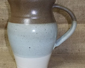 Vintage Hand Thrown Clay Art Pottery Pitcher-Brown, Gray & Tan Bands-Unsigned