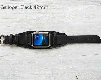 The Lowry Leather Cuff for Apple Watch Series 1 & 2 - Galloper Black with Steel Hardware 42mm