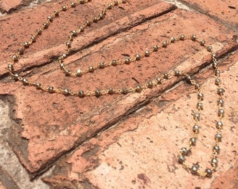 Pyrite Rosary Chain Necklace
