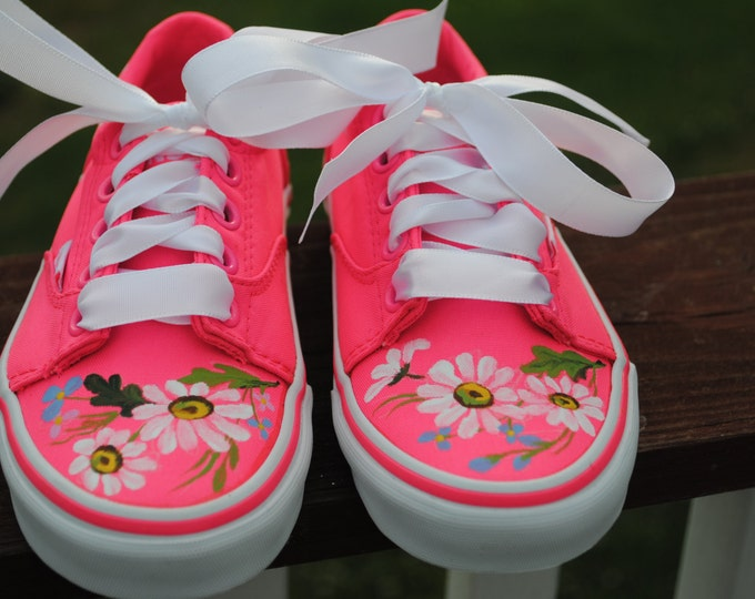 For Sale Childrens Vans boys size 12 ero size 30 Pink flowers shoes... For SALE