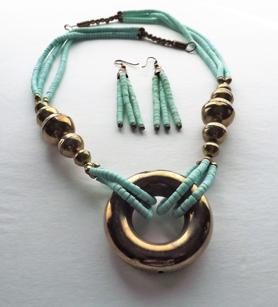 Turquoise Heishi Beaded Brass Necklace~Matching Earrings~Turquoise Brass Beaded Necklace