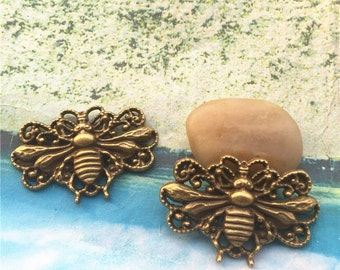 10pcs 50x30mm antiqued bronze plated large Bee findings pendant