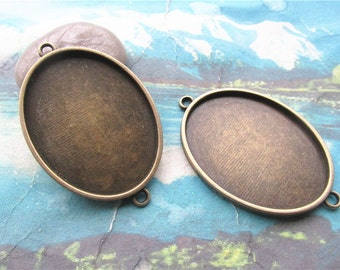 HEAVY-4pcs 43x34 mm antiqued Bronze plated oval bezel pendant blanks--2 loops
