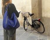 Leather women's shoulder bag, messenger , in electric blue  color,named Vera MADE TO ORDER