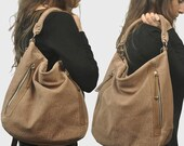 Women's Leather shoulder bag, messenger , in taupe textured nubuck ,named Vera MADE TO ORDER