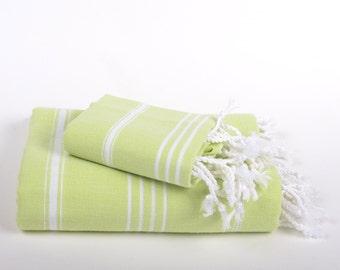turkish towel set, peshtemal and peshkir, body and head towel, green and white, striped, pure cotton,  bath towel, quick dry,  beach towel