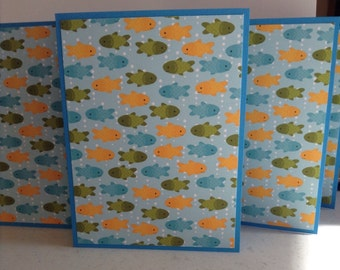 Fish Cards, Fish Stationery, Fish Notes, Aquarium Cards, Blue Yellow Green, Set of 6 Cards and Envelopes