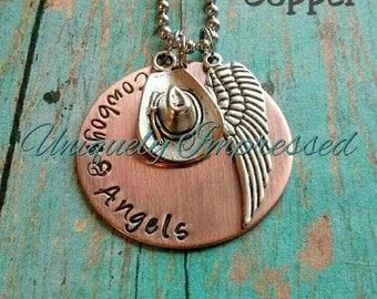 Cowboys Angels Dustin Lynch Country Southern Metal Necklace Jewelry Charms Hammered Personalized Uniquely Impressed
