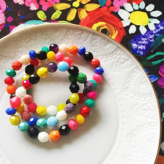 Multicolored boho bohemian Czech Glass bead/Pearl bead/ Agate/GemstoneThree Bracelet Gift Set. Can customize colors