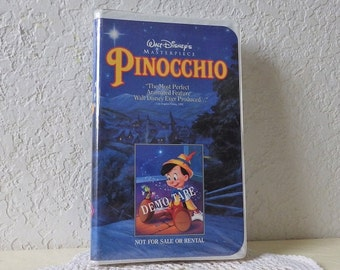 Walt Disney's Pinocchio DEMO VHS Tape in White Clamshell Case with Black Diamond Classics Logo, 1993.