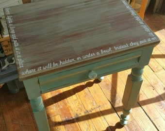 Rustic primitive Whimsical Rustic shabby Nightstand Endtable Accent Table Blithe seafoam bible verse Blue Salvaged Refinished WHAGN