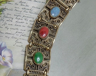 Sarah Coventry Signed Colorful Cabochon Baroque Style Gold Link Bracelet