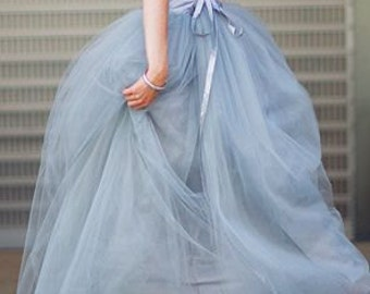 Long Silver Gray tulle tutu skirt, maxi skirt, color of your chose