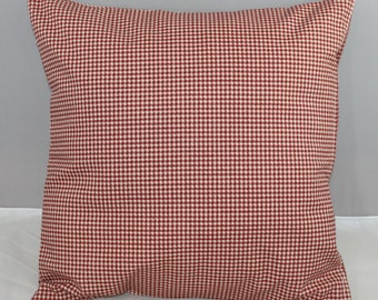 Pillow Cover Waverly Red and Off White Checks Country Fair Crimson Red 16x16