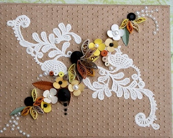 Quilled All Occasion Card - Sunflowers Paper Lace and Pearls on Dotted Brown Background