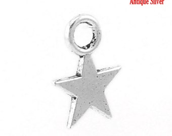 300pcs. Antique Silver Star Charms Pendants - 11mm x 9mm (0.43 in x 0.35 in) - 9x11mm