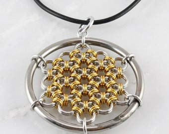 Chain Maille Honeycomb Pendant -Necklace Included-