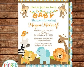 Jungle Safari Baby Shower Invitation Printable - Safari Animals Baby Shower Invite - Jungle Party Invitation - Gender Neutral Baby