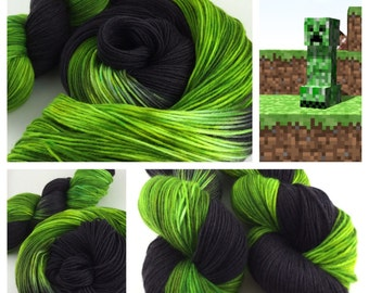"""Dyed To Order- """"I'm A Creep"""", Minecraft Inspired, Hand Dyed, SW Merino Wool Yarn, Knitting, Crochet, Creeper, Enderman"""