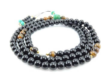 Tibetan Mala Austere Black Onyx Mala with Tiger Eye and Turquoise Guru Bead for Meditation