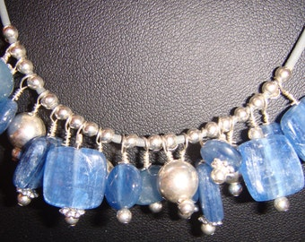 Kyanite and Pewter Silver Bubble Necklace on Grey Leather
