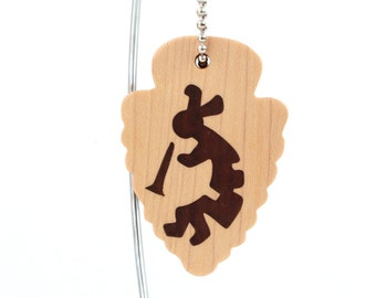 Kokopelli Key Chain, Southwestern Style Arrowhead Keychain, Kokopelli Accessory, Wood Scroll Saw Key Ring Walnut