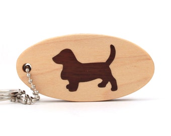 Basset Hound Key Chain, Scroll Saw Wood Dog Breed Key Ring, Hound Dog Key Holder, Pet Accessories, Walnut